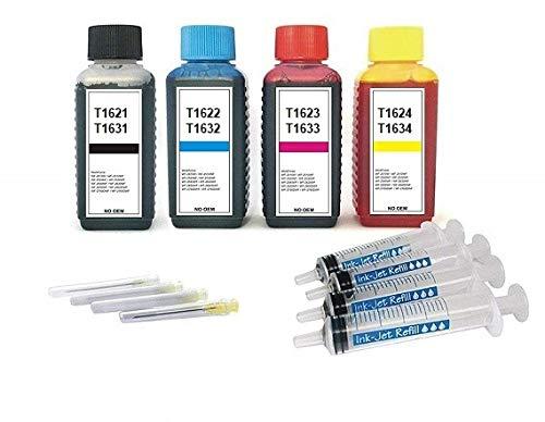 4 x 100 ml Ink-Mate Premium Refill-Tinten zum Befüllen der Tintenpatronen T16 XL black, cyan, magenta, yellow - T1621, T1622, T1623, T1624 und T1631, T1632, T1633, T1634