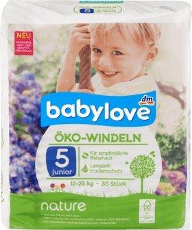 babylove Öko-Windeln nature Größe 5, Junior, 12-25 kg, 30 St