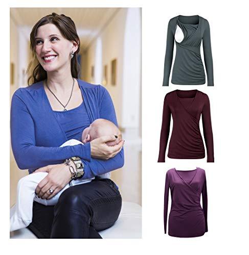 Top de Maternité, Covermason T-Shirt de Grossesse Haut d'allaitement Brassière Maternité Tee- Femme à Manches Longues Tee Shirt Blouse