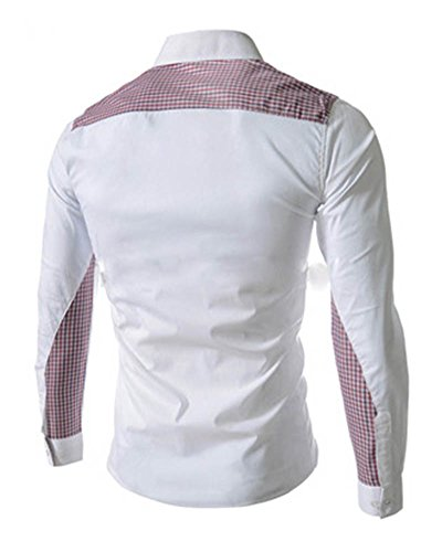 Herren Männer Freizeit Hemd Langarm Shirts Slim Fit Business Bügelleicht Weiß
