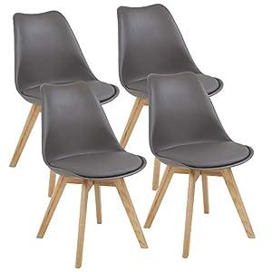 Albatros Esszimmerstühle AARHUS 4-er Set, Grau mit Beinen aus Massiv-Holz, Eiche, skandinavisches Retro-Design