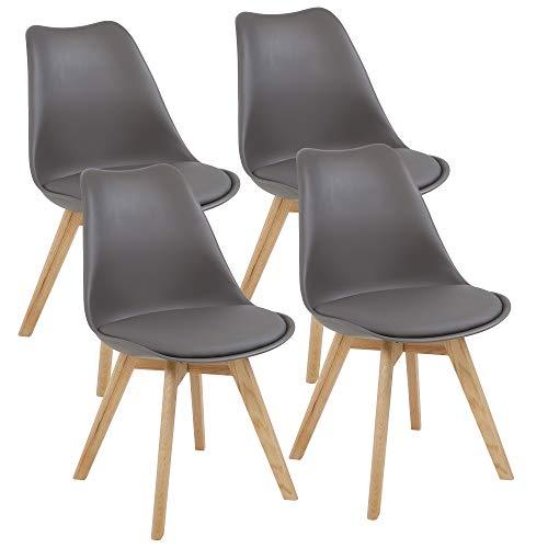 Home Eiche Design Ein (Albatros Designerstühle AARHUS 4-er Set, Grau mit Beinen aus Massiv-Holz, Eiche, skandinavisches Retro-Design)