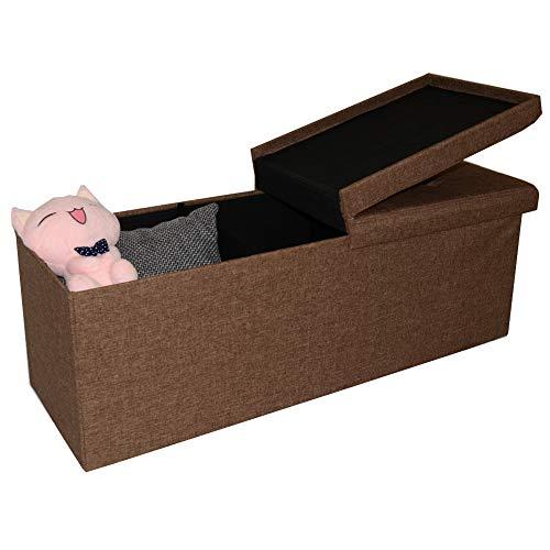 Style home Sitzbank Sitzhocker Aufbewahrungsbox mit Stauraum faltbar belastbar bis 300 kg 110 x 38 x 38cm (Leinen/Braun)
