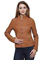 MansiCollections Brown Leatherite Jacket for Women