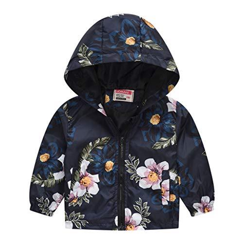 MRULIC Kinder Mädchen Jungen Floral Bedruckter Frühling mit Kapuze Licht Mantel Reißverschluss Jacke Tops Sonnenschutz Kleidung 1-6 Jahre(A-Schwarz,110-120CM) -