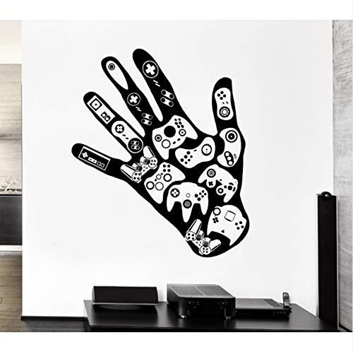 Aelaher rimovibile gamer hand decalcomania videogiochi sala giochi camera dei ragazzi adesivi in vinile art home decor murale autoadesivo della parete diy 51x42cm