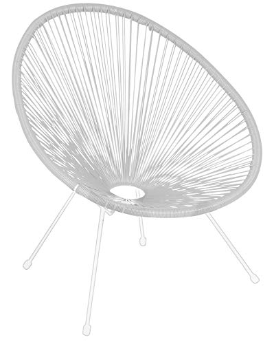 Enrico coveri contemporary sedia acapulco in corda e metallo, poltrona moderna ed elegante, ideale per salone, soggiorno, cucina e giardino (bianco)