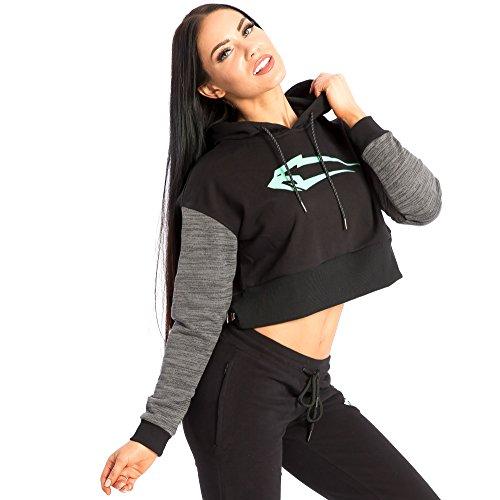 SMILODOX Kapuzenpullover Damen   Cropped Hoodie für Sport Fitness & Freizeit   Sportpullover - Sweatshirt Pulli - Pullover mit Kapuze - Langarm, Größe:M, Farbe:Schwarz/Mint