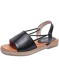 Longra Donna Bohemia confortevole sandali di grandi dimensioni (EU Size:37, Beige)