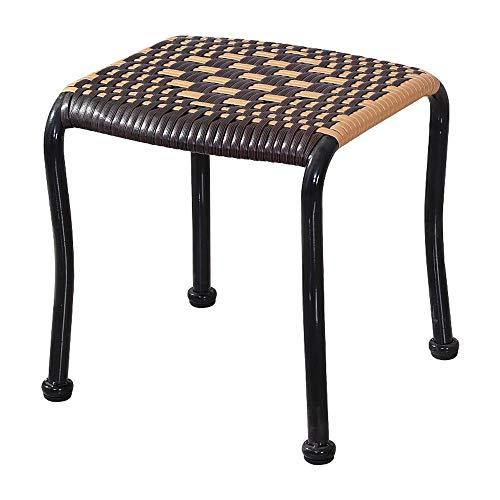 Cane-rattan-möbel (Paddia Rattan-Liegestuhl Gartenmöbel im Freien Rattan-Würfel-Tisch-Stuhl-Gartenmöbel-Runde gepolsterte Schemel-hölzerne Beinpuffs Ottoman-Stuhl-Hocker-Stoff-Abdeckung)