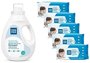 Mee Mee Mild Baby Liquid Laundry Detergent, 1.5L & Caring Baby Wet Wipes, Lemon Fragrance, 72 Pieces (Pack of 5) Combo