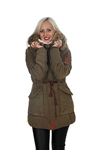 Manteau d'hiver long pour femme 3 coloris - Kaki
