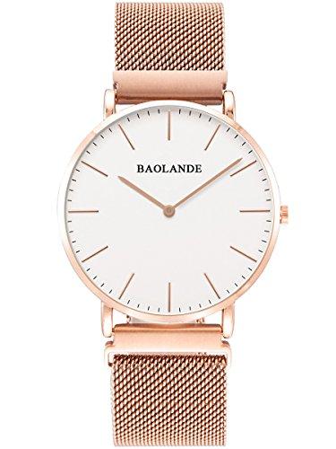 Alienwork Classic St.Mawes Quarz Armbanduhr elegant Quarzuhr Uhr Einzigartige Magnet-Verschluss weiss rose gold Metall U04813G-03