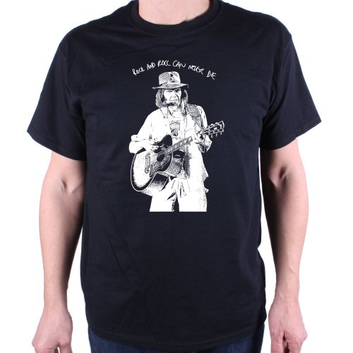 Old Skool Hooligans Neil Young T shirt - On Stage Rock & Roll Will Never Die (L)