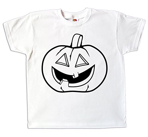 Pixkids Kinder T-Shirt Halloween Kürbis zum bemalen und ausmalen mit Vordruck Spiel zum Kindergeburtstag Kindergarten gruselig Halloweenparty für Jungen und Mädchen (128) (Lustige Halloween-spiele Für Kindergarten)