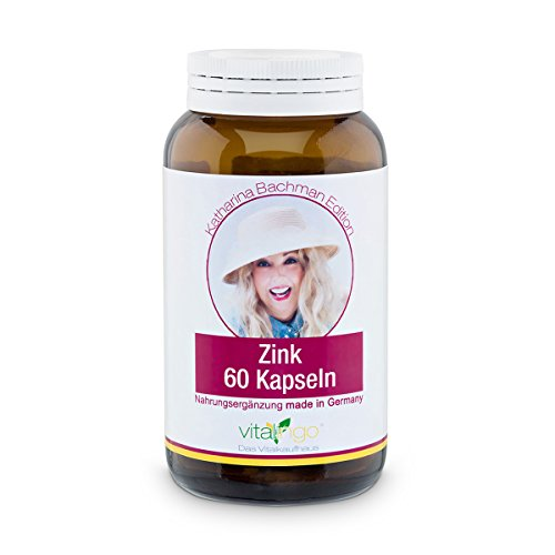 Zink Kapseln - Beste Qualität & hochdosiert - 60 Stück Zink Kapseln mit je 25mg Zinkgluconat | Katharina Bachman Edition | Kapselhülle aus 100mg Methylcellulose (Vegicaps für Vegetarier)