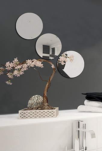 MSV Spiegel Spiegelfliesen Wandspiegel Fliesenspiegel selbstklebend 3 Stück - Ø 15cm