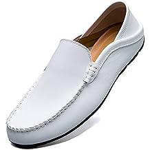 KAMIXIN Mocasines Hombres Zapatos de Vestir Casuales Holgazanes Slip On Verano Plano Cuero Zapatos de Conducción