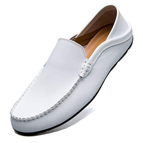 KAMIXIN Mocassini Uomo Pelle Estivi Pantofole Casual Eleganti Slip On Scarpe da Guida Scarpe da Barca Classic Loafers Bianco 40EU
