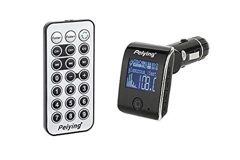 Peiying URZ0387 Kfz FM Transmitter mit RDS-Funktion inkl. Fernbedienung USB/SD/ 206 Radiosender 3,6 cm (1,4 Zoll) LCD-Display schwarz