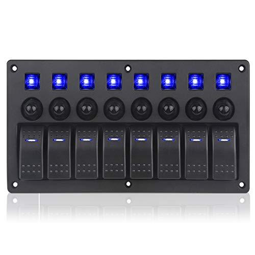 8 Gang Marine Boat Toggle Rocker Switch Panel Wasserdichte ON-Off Zündung Panel 12V /24V Leistungsschalter blau LED-Anzeige für RV Fahrzeug LKW Anhänger Marine 8