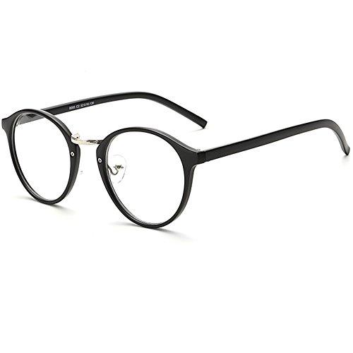 LANOMI Retro Nerdbrille Runde Oval Brille Geblümte Brillenfassung Ohne Stärke Hornbrille mit Brillenetui Vintage (Matt schwarz)