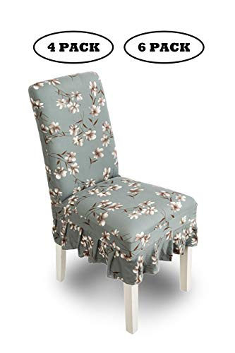 Casamia coprisedia con schienale, elegante coprisedie sala da pranzo e per sedie da cucina moderne, realizzati in tessuto elasticizzato, dimensioni 35-38cm,45-60cm,38-46cm,13-20c,grigio fiori 6 pezzi