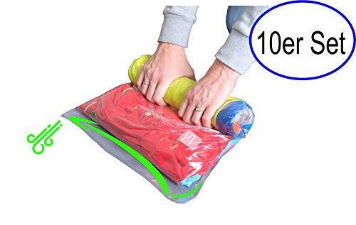 Qualität Unterwäsche Kleidung (Reise Vakuum Beutel zum Rollen per Hand 10er Set | Keine Pumpe nötig | Komplettset 4 verschiedene Größen | Transparent | Bewährte SiS Qualität | inkl. E-Book