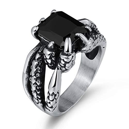 KnSam Schmuck Herren-Ring Edelstahl Bandring Fingerring Drache Klaue Zirkonia Punk Ehering für Männer Junge Schwarz Größe 65 (20.7)