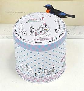 Petite boîte de rangement rétro Boîte de fer-blanc de thé de modèle animal mignon portatif (poule et poussin)