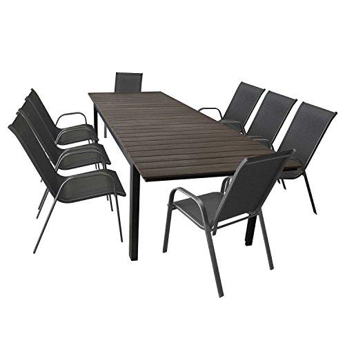 9tlg. Terrassenmöbel Set Aluminium Ausziehtisch Gartentisch mit Polywood Tischplatte 280/220x95cm + 8 Stapelstühle mit Textilenbespannung Anthrazit – Sitzgarnitur Sitzgruppe