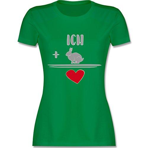 Shirtracer Sonstige Tiere - Hasen-Liebe - Damen T-Shirt Rundhals Grün