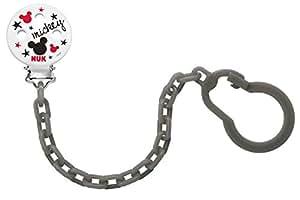 NUK 10.256.312. Disney Mickey Catenella e Clip per Succhietto, 1 pezzo, colori assortiti