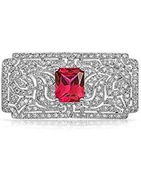 Bling Jewelry CZ Rubí simulada de estilo Art Deco Brooch Pin chapados en rodio