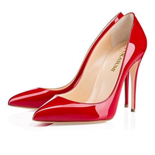 EDEFS Femmes Artisan Fashion Escarpins Délicats Classiques Elégants Pointus Des Couleurs Variées Chaussures à talon de 100mm Jaune Rouge Brillant