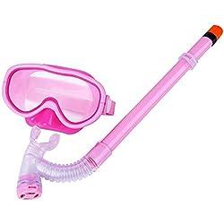 Eizur Enfants Masque Plongee + Sec Tuba, Anti-brouillard Natation Snorkel Set Été Sous-marine Lunettes Protection Nager Snorkeling Kits Diving Mask (Jaune / Vert / Violet / Bleu Ciel / Bleu / Rose)