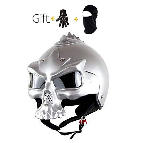 QYDM Sommer Motorrad Helm, DOT Zertifiziert, Persönlichkeit Schädel Halb Helm Cool Adult Motorradhelm, Retro Belüftung Motocrosshelme mit Eingebaute Blendschutzlinse