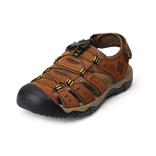 Sandalen Herren Durable Sommer Leder Schuhe Robuste Futter Velcro Straps Flip-Flops Für Frühling Reisen,003,13 Velcro-strap Sandalen