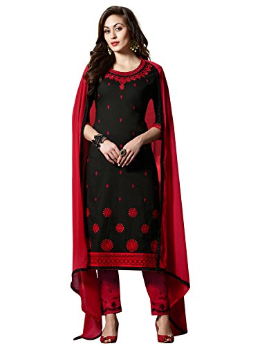 KVSFAB Women's Black & Red Cotton Un-stitched Dress Material[KVSSK10006SDRS]