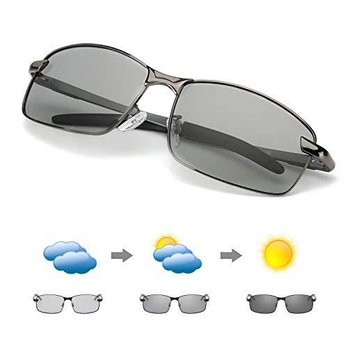 MuJaJa Herren Photochromatisch Polarisierte Sonnenbrille Sport mit Ultraleicht AL-MG-100% Schutz vor UVA- und UVB (Gewehr)