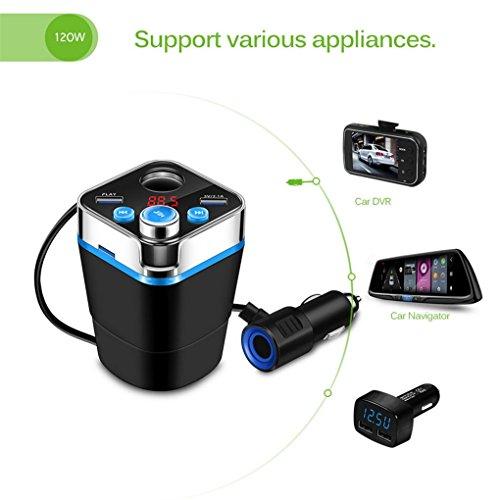 ZYX Auto Zigarettenanzünder Adapter Bluetooth Car Kit Musik Player Modulator Cup Form Auto Ladegerät DC 12/24 V FM Transmitter,Black