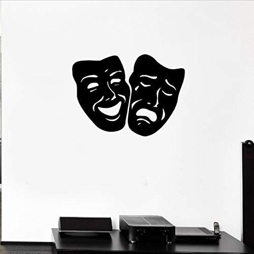 Olivialulu Wandtattoo Maske Tragödie Und Comedy Theater Vinyl Aufkleber Aufkleber Wohnzimmer Heimkino Wanddekoration 77 * 56Cm Farbe Größe Kann Angepasst Werden (In Der Heimkino-system Decke)