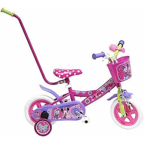Bicicleta Niño Disney Minnie con barra de Aprendizaje 10 pulg Rosa 2-4 años