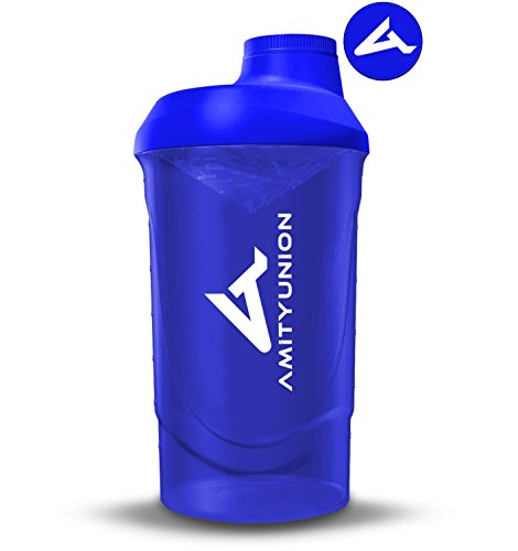 Eiweiß Shaker 800 ml mit Sieb - Deluxe Fitness Becher - Protein Shaker auslaufsicher - BPA frei, Mit Skala für cremige Whey Proteinpulver Shakes, Protein Isolat und BCAA Konzentrate in Dunkelblau
