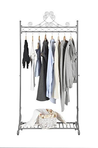 NEUN WELTEN Kleiderständer Vintage Design Kleiderstange aus Metall Garderobenständer (Grau) (Retro-designer-kleidung)