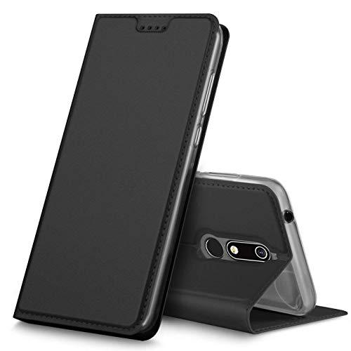 Verco Handyhülle für Nokia 5.1, Premium Handy Flip Cover für Nokia 5.1 Hülle [integr. Magnet] Book Case PU Leder Tasche [Nokia 5 2018], Schwarz