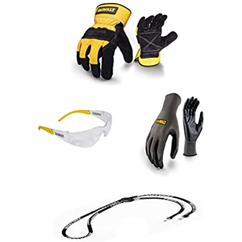 DeWalt paquete de oferta guantes de electricista (alta resistencia, tamaño grande, pantalla, gafas de seguridad DeWalt de nitrilo guantes de agarre con Neckcord 4artículos