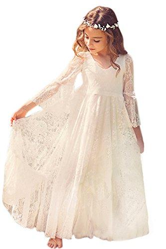 Kinder Mädchen Spitzenkleid Blumenmädchen Kleid Hochzeit Ivory 145cm