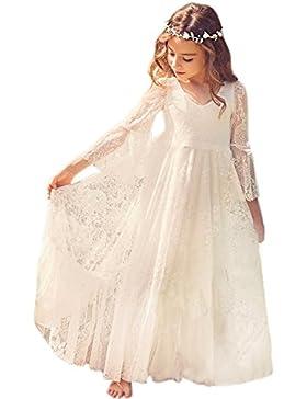 Mädchen Prinzessin Kleid Spitzen Blumenmädchen Kleid Festkleid 100-155CM MisShow