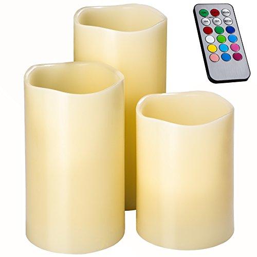 TecTake 3er Set LED Kerzen mit Fernbedienung und Timer Farbwechselkerzen batteriebetriebene Echtwachskerzen